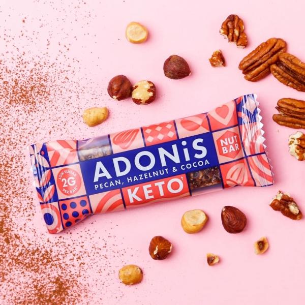 ADONIS Keto Riegel - Pekannüsse, Haselnuss & Kakao