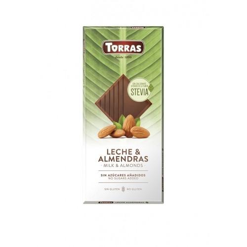 Vollmilch Mandel Schokolade Erythrit & Stevia - Torras 125g