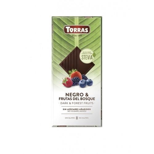 Zartbitter Waldfrüchte Schokolade Erythrit & Stevia - Torras 125g