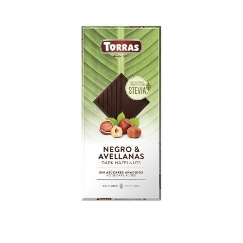 Zartbitter Haselnuss Schokolade Erythrit & Stevia - Torras 125g